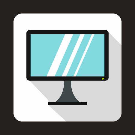 monoblock: Computer monitor icon in flat style on a white background Illustration