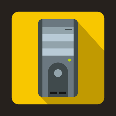 power supply unit: Computer system unit icon in flat style on a yellow background Illustration