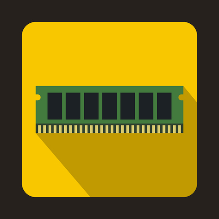 ddr: DVD RAM module for the personal computer icon in flat style on a yellow background