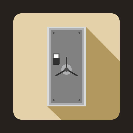 secrecy: Safe door icon in flat style on a beige background Illustration