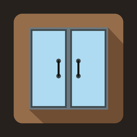 metall and glass: Two glass doors icon in flat style on a coffee background