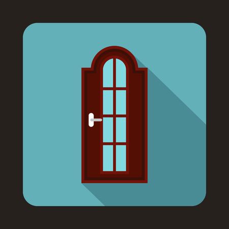 arched: Arched wooden door with glass icon in flat style on a baby blue background Illustration