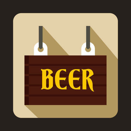 stout: Street signboard of beer icon in flat style on a beige background