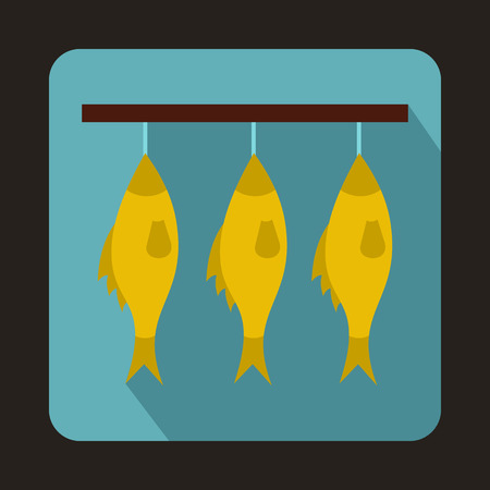 food preservation: Three dried fish hanging on a rope icon in flat style on a baby blue background
