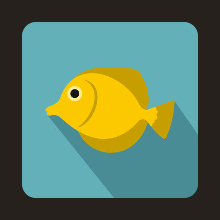 tang: Yellow Tang fish, Zebrasoma flavescens icon in flat style on a baby blue background
