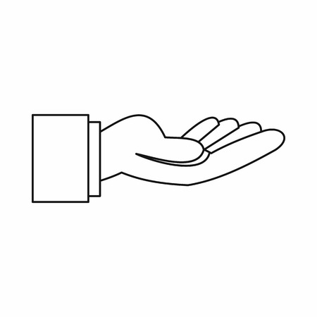 outstretched hand: Outstretched hand gesture icon in outline style isolated vector illustration