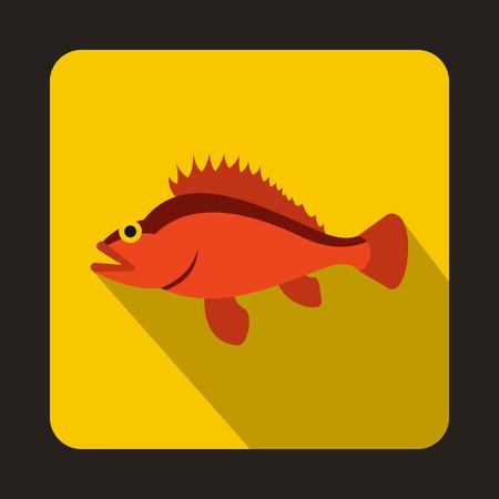 norvegicus: Rose fish, Sebastes norvegicus icon in flat style on a yellow background