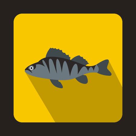 perch: European perch, Perca fluviatilis icon in flat style on a yellow background Illustration