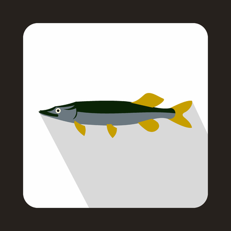 coldblooded: Saury icon in flat style on a white background