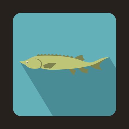 sturgeon: Fresh sturgeon fish icon in flat style on a baby blue background