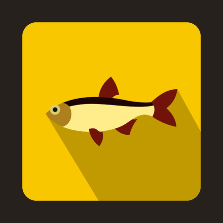 cypriniformes: Rudd fish icon in flat style on a yellow background Illustration