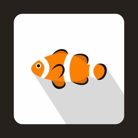 anemonefish: Cute clown fish icon in flat style on a white background