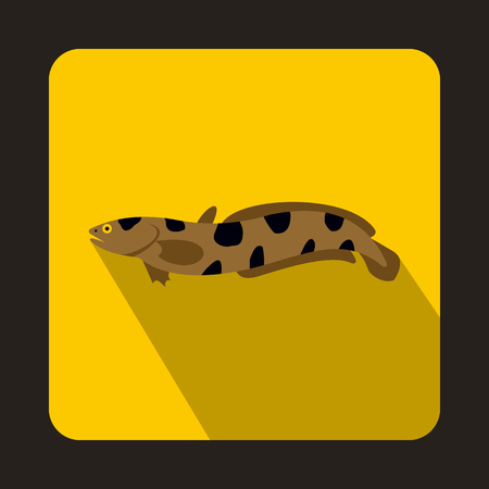 devil fish: Anarhichas fish icon in flat style on a yellow background Illustration