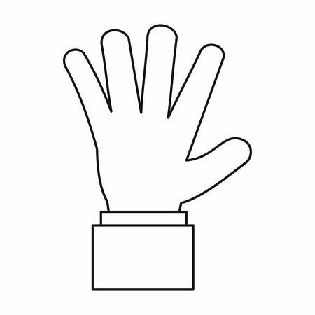 hi five: Hand showing five fingers icon in outline style isolated vector illustration