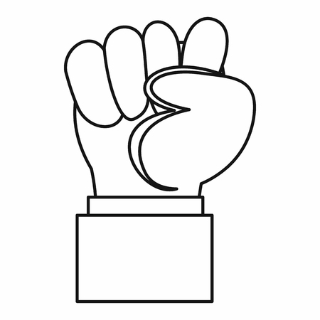 clenched: Raised up clenched male fist icon in outline style isolated vector illustration