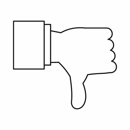 expressing negativity: Thumb down gesture icon in outline style isolated vector illustration