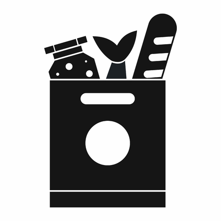 grocery bag: Grocery bag with food icon in simple style isolated vector illustration