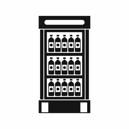 chiller: Fridge with refreshments drinks icon in simple style isolated vector illustration