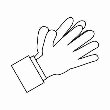 applauding: Clapping applauding hands icon in outline style isolated vector illustration Illustration
