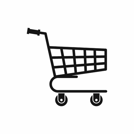 chrome cart: Shopping cart icon in simple style isolated vector illustration