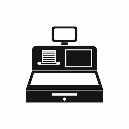 departmental: Cash register with cash drawer icon in simple style isolated vector illustration Illustration