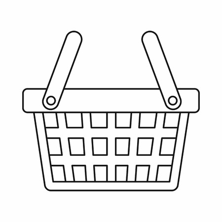 checkout line: Shopping basket icon in outline style isolated vector illustration