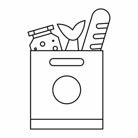 grocery bag: Grocery bag with food icon in outline style isolated vector illustration