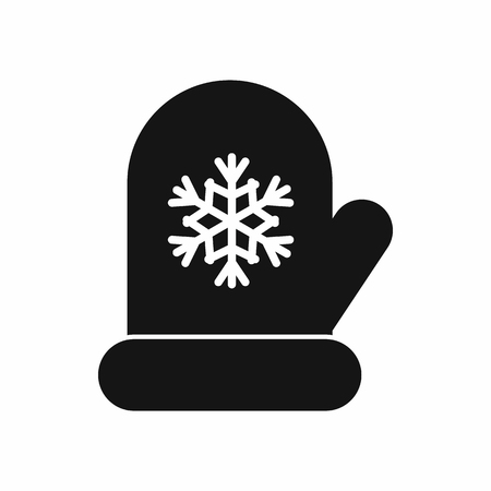mitten: Mitten with white snowflake icon in simple style isolated vector illustration