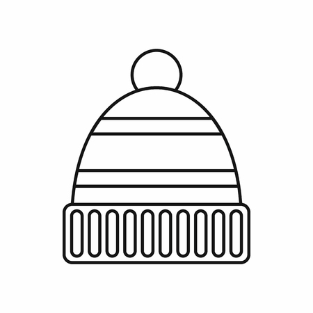 knitten: Hat icon in outline style isolated vector illustration Illustration