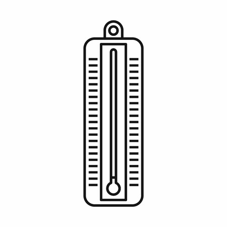 low scale: Thermometer indicates low temperature icon in outline style isolated vector illustration