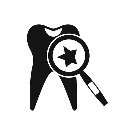 magnifying glass icon: Tooth with magnifying glass icon in simple style isolated vector illustration Illustration