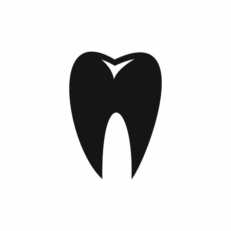 carious: Tooth icon in simple style isolated vector illustration