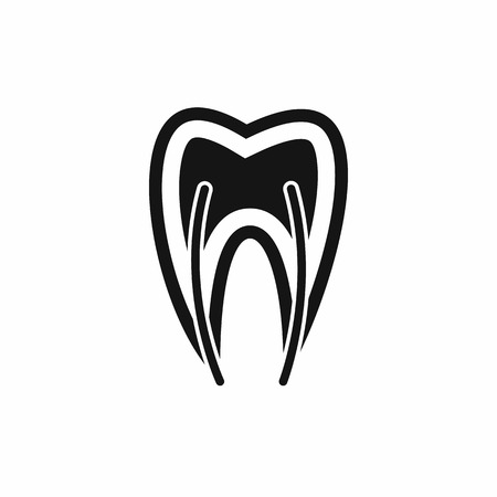 carious cavity: Tooth cross section icon in simple style isolated vector illustration