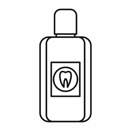 gargle: Bottle of green mouthwash icon in outline style isolated vector illustration