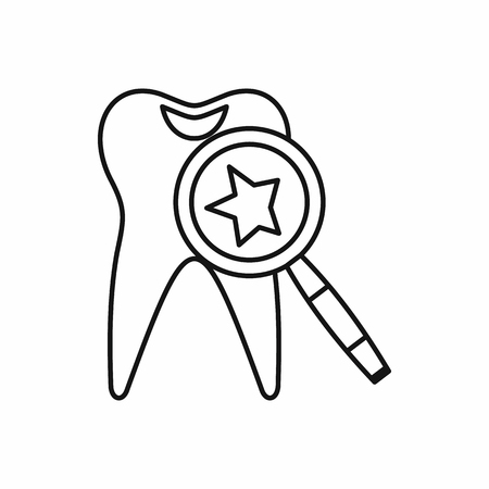carious cavity: Tooth with magnifying glass icon in outline style isolated vector illustration Illustration
