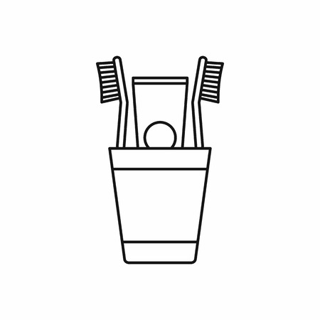 Plastic cup with brushes icon in outline style isolated vector illustration