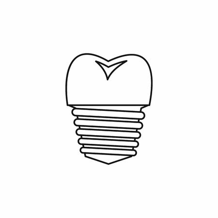 carious cavity: Tooth implant icon in outline style isolated vector illustration