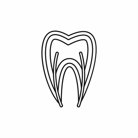 carious cavity: Tooth cross section icon in outline style isolated vector illustration