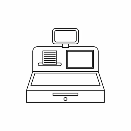 departmental: Cash register with cash drawer icon in outline style isolated vector illustration