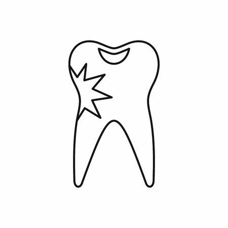 carious cavity: Cracked tooth icon in outline style isolated vector illustration