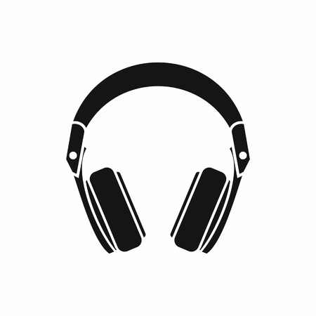 Headphones icon in simple style isolated vector illustration Çizim