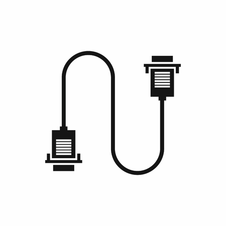 ethernet cable: Cable wire computer icon in simple style isolated vector illustration