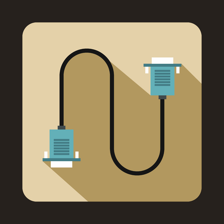 ethernet cable: Cable wire computer icon in flat style on a beige background Illustration