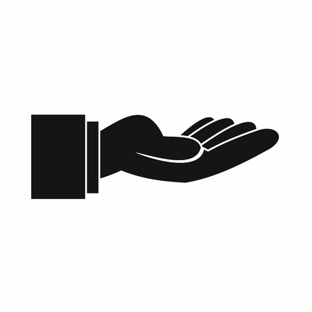 outstretched hand: Outstretched hand gesture icon in simple style isolated vector illustration