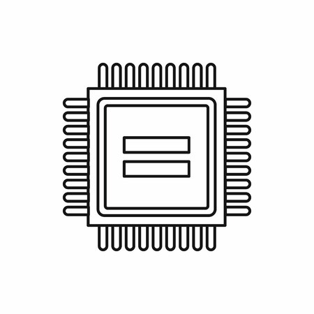 electronic board: Electronic circuit board icon in outline style isolated vector illustration