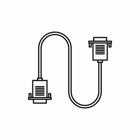 hdmi: Cable wire computer icon in outline style isolated vector illustration