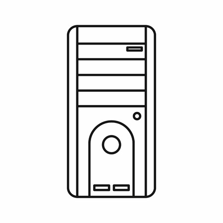 computer system: Computer system unit icon in outline style isolated vector illustration Illustration