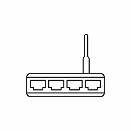 Router icon in outline style isolated vector illustration