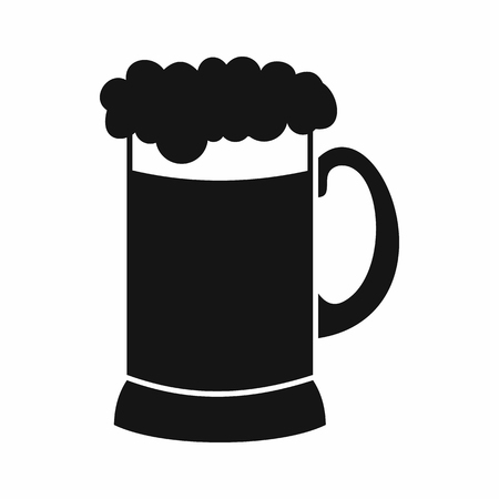 guinness: Mug of dark beer icon in simple style isolated vector illustration