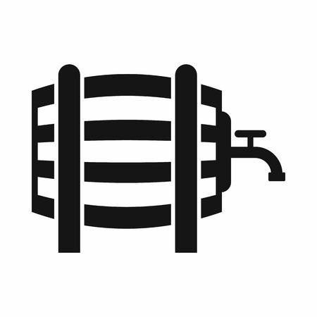 metal legs: Wooden barrel with tap icon in simple style isolated vector illustration